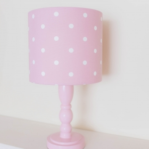 personalised lampshade handmade in Dotty rose fabric Studio G Pink fabric with white dots spots. 20cm diameter x 18cm tall