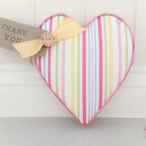 Fabric Hearts Ella Stripe Sunshine handmade to order. Great teacher gift, thank you gift, birthday gift