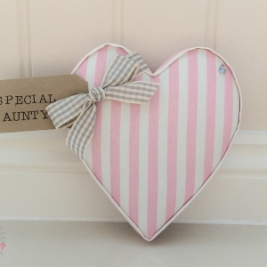 Fabric Hearts Special Aunty present. New home, new baby, twins present, teacher gift. Wedding present under £20 Party Stripe Pink Fabric
