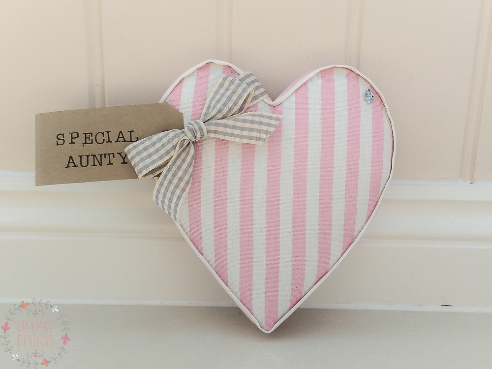 Fabric Hearts Special Aunty present. New home, new baby, twins present, teacher gift. Wedding present under £20 Party Stripe Pink Fabric Price List