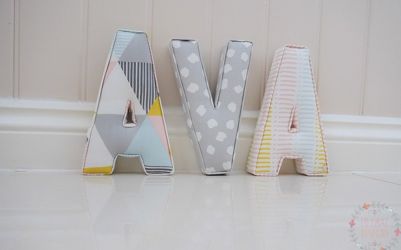 Girls christmas present idea. Ava fabric letters in pinks and greys.