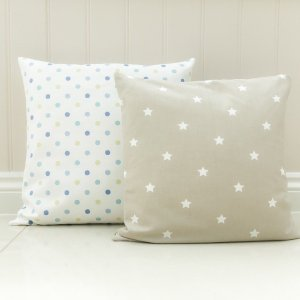 Cushion Covers Lilymae Designs Twinkle oatmeal taupe fabric with white stars