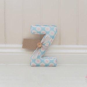 Daisy Aqua Fabric Letter Studio G Personalised nursery letter. Available now next day dispatch