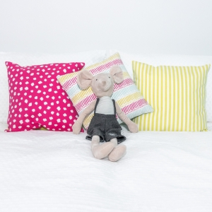 Cushion Covers handmade to order. Bright pink and lime green. Nursery Decor