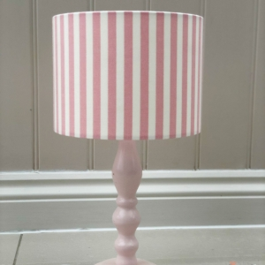 Candy stripe pink personalised lampshade in Party Stripe pink fabric