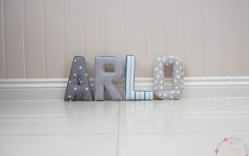 Boys blue & grey nursery ideas theme. Arlo fabric boys wall letters