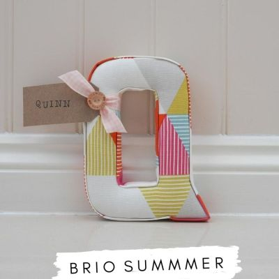 Fabric Letters Brio Summer Studio G Fabric Bright pink, yellow, blue. Bright nursery playroom theme. Personalised nursery letter Q with custom nametag Quinn. Lilymae Designs