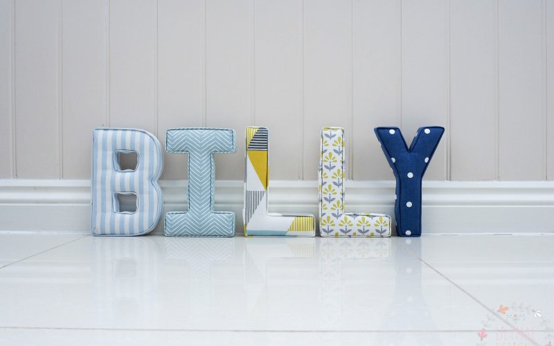 new baby gift present for nephew, grandson, friends baby ideas handmade to order personalised wall fabric letters