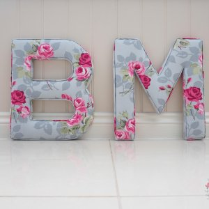 Extra Large Nursery letters in Studio G Nancy Heather fabric Personalised fabric letter B & M grey fabric with pink floral detail Twins nursery decor. Lilymae Designs