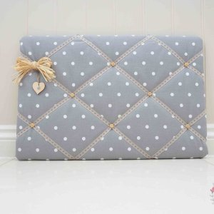 Fabric Memo Boards Grey memo board. Handmade to order in Dotty Smoke Grey Studio G fabric kitchen notice board. Photo memory board. Lilymae Designs
