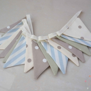 neutral bunting taupe, beige, sage and pale blue cot bunting unisex bunting for nursery
