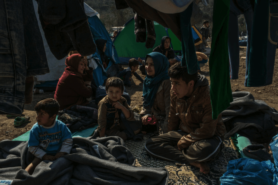 Image Afghan family at a refugee camp