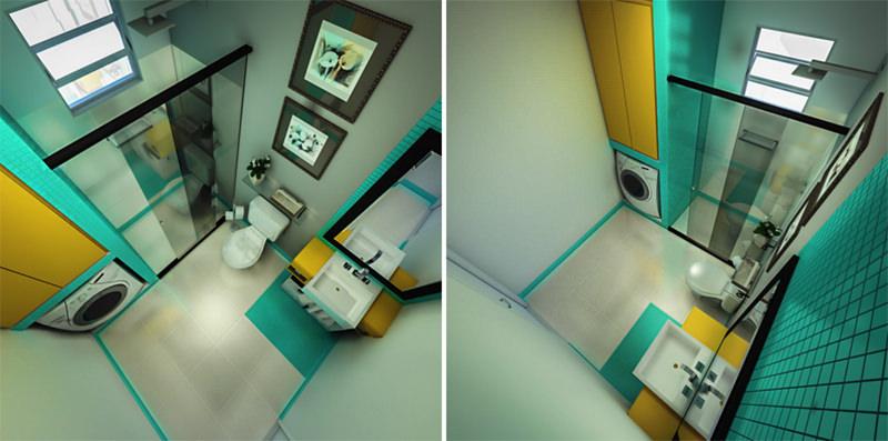 Banheiro com lavanderia soluo para espaos pequenos