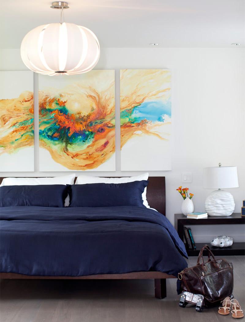 15 lindos quartos com quadros acima da cabeceira da cama