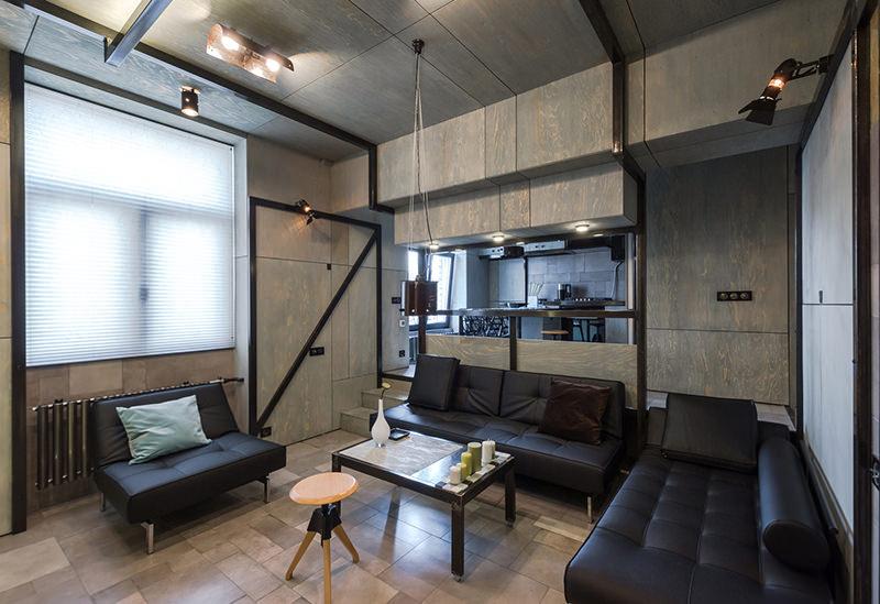 Apartamento pequeno com cores escuras  limaonagua