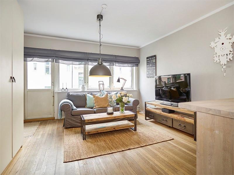 Apartamento pequeno com decorao rstica e aconchegante