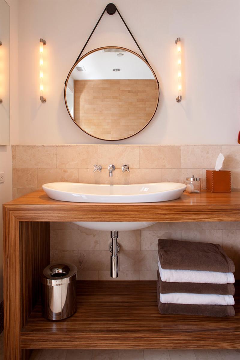 20 lindos banheiros com espelho redondo para voc se inspirar  limaonagua