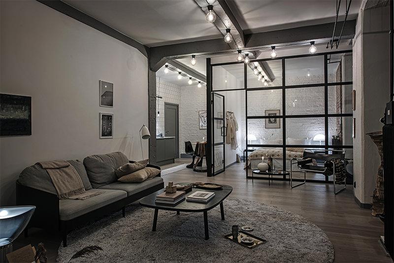 Loft estilo industrial com sala cozinha e quarto