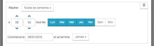 Paramétrage des créneaux d'envoi de la newsletter