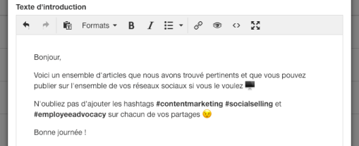 Texte d'introduction de la Newsletter