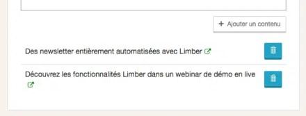 Ajouter un contenu à la Newsletter - Limber