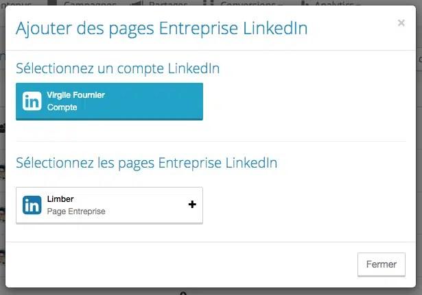 Choisir la page LinkedIn - Limber