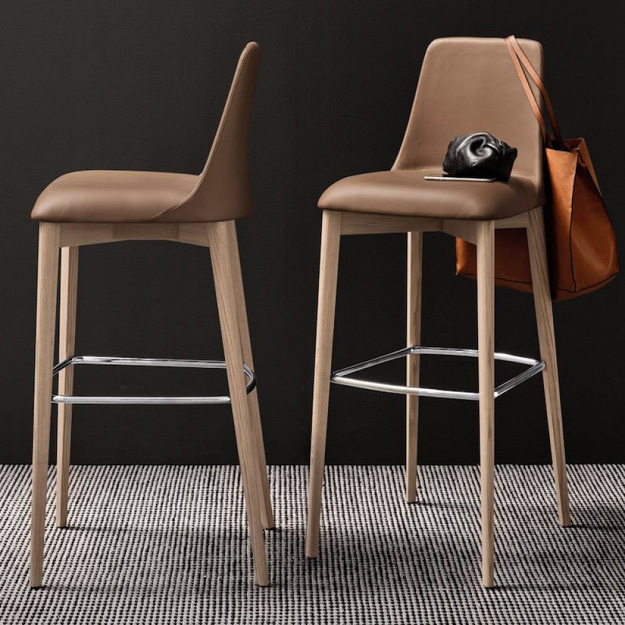 grey upholstered chair white legs wheelchair guy movie calligaris etoile bar stool