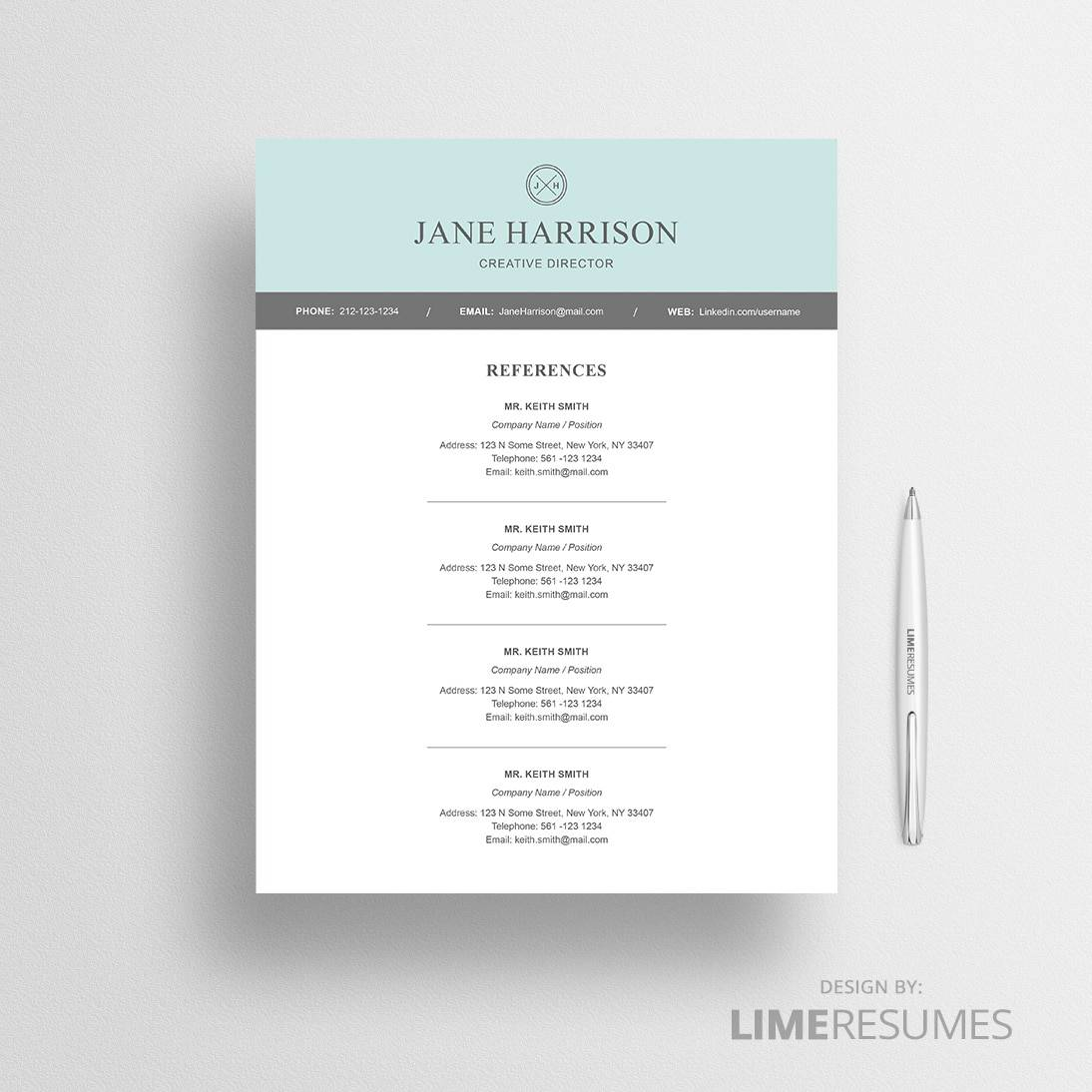 resume reference template microsoft word