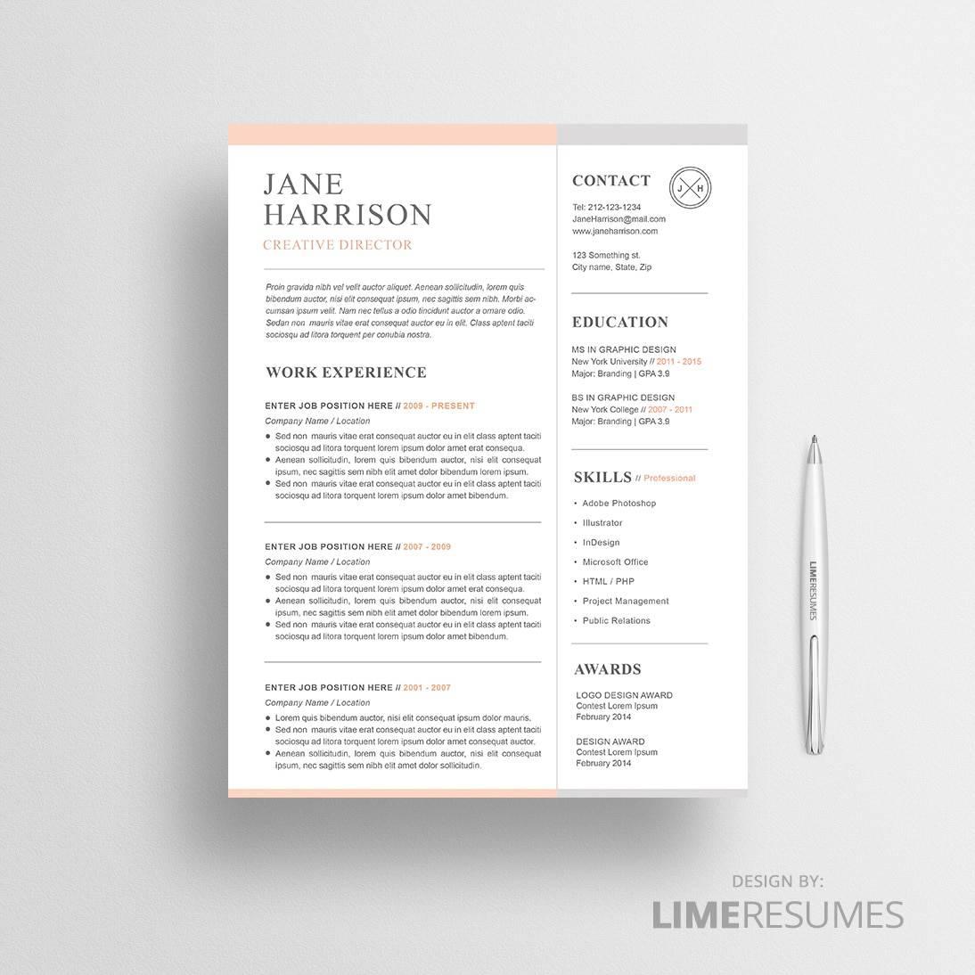 Modern Resume Template / 2 Page Resume - LimeResumes
