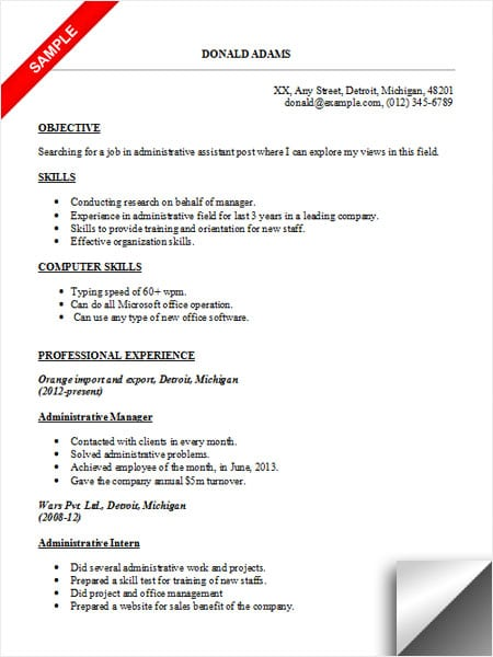 sample resume for typing job