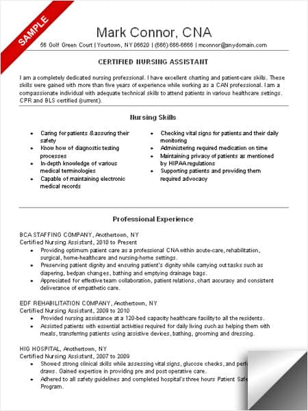 sample resume for cna with objective