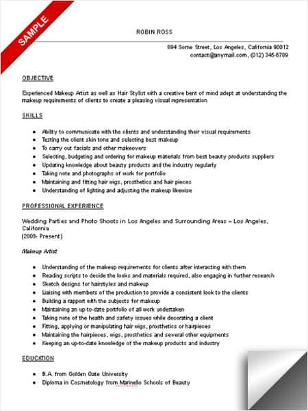 makeup artist objective resume sample