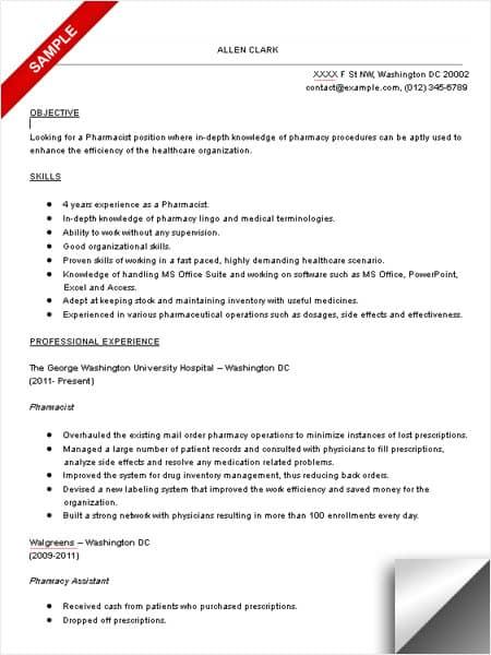 resume objective examples pharmacist