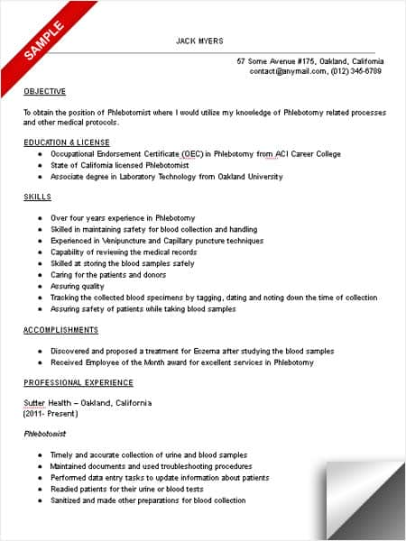 free sample phlebotomist resume