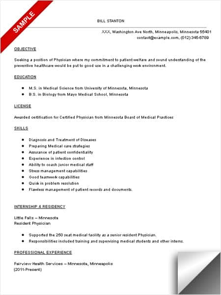 example of doctor resumes