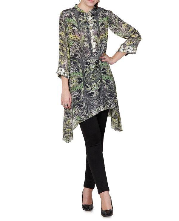 Printed Embroidered Asymmetrical Kurti