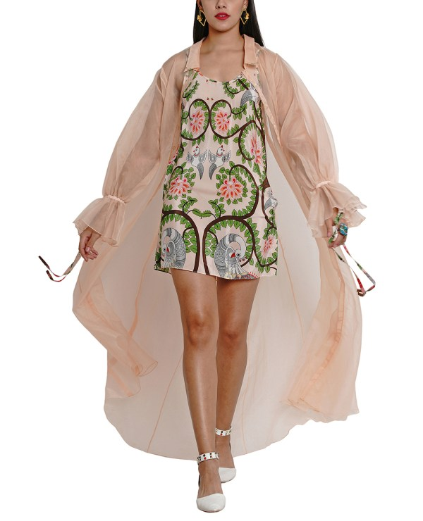 Embroidered Printed Slip dress with Sheer Jacket