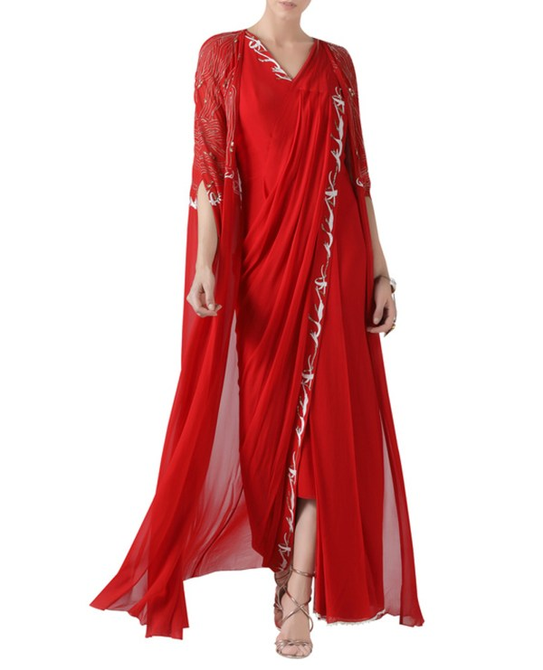 red-embroidered-pre-stitched-sari