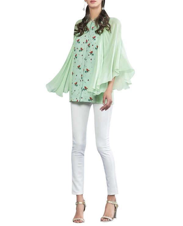 Embroidered Top with Draped Sleeves