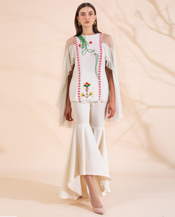 Embroidered Top with Statement Sleeve