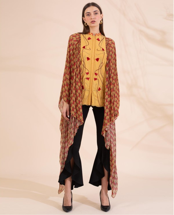 Hand Embroidered Tunic with Exaggerated Printed Sleeves