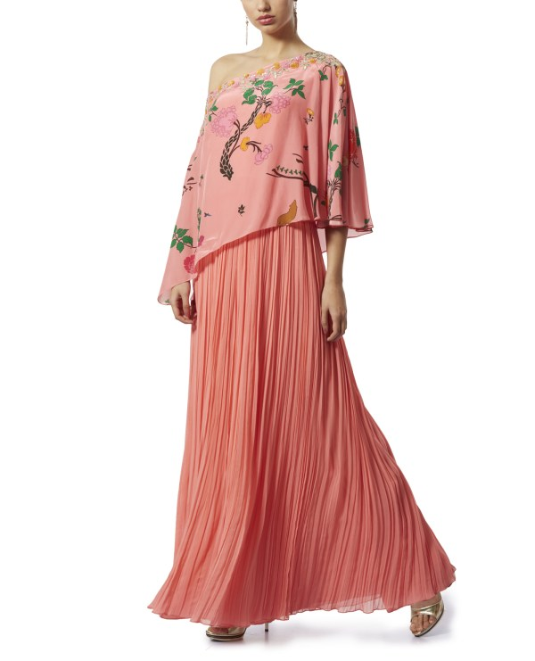 Embroidered Cape OneShoulder Maxi