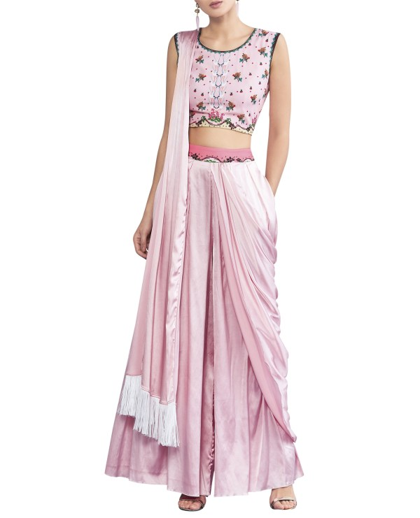 Sari Inspired Pants with Embroidered Top
