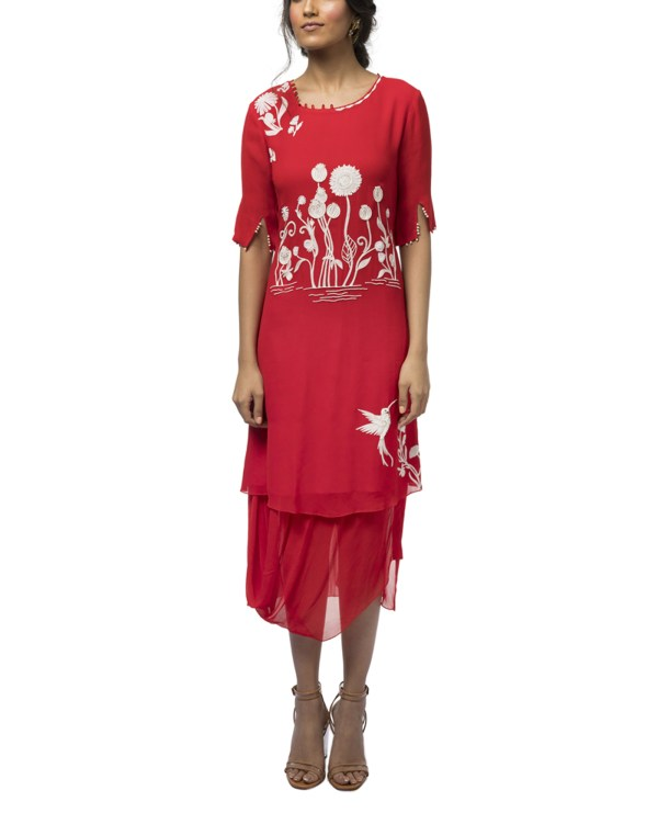 Embroidered Dress with a Cowl Hem