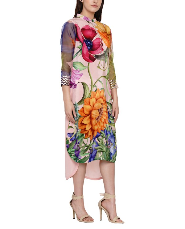 Embroidered Printed High Low Tunic
