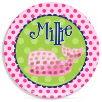 Polka Dot Whale Girls Personalized Microwave Safe Plate