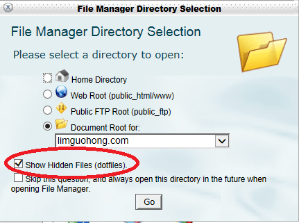 Tick the options Show Hidden Files (dotfiles).