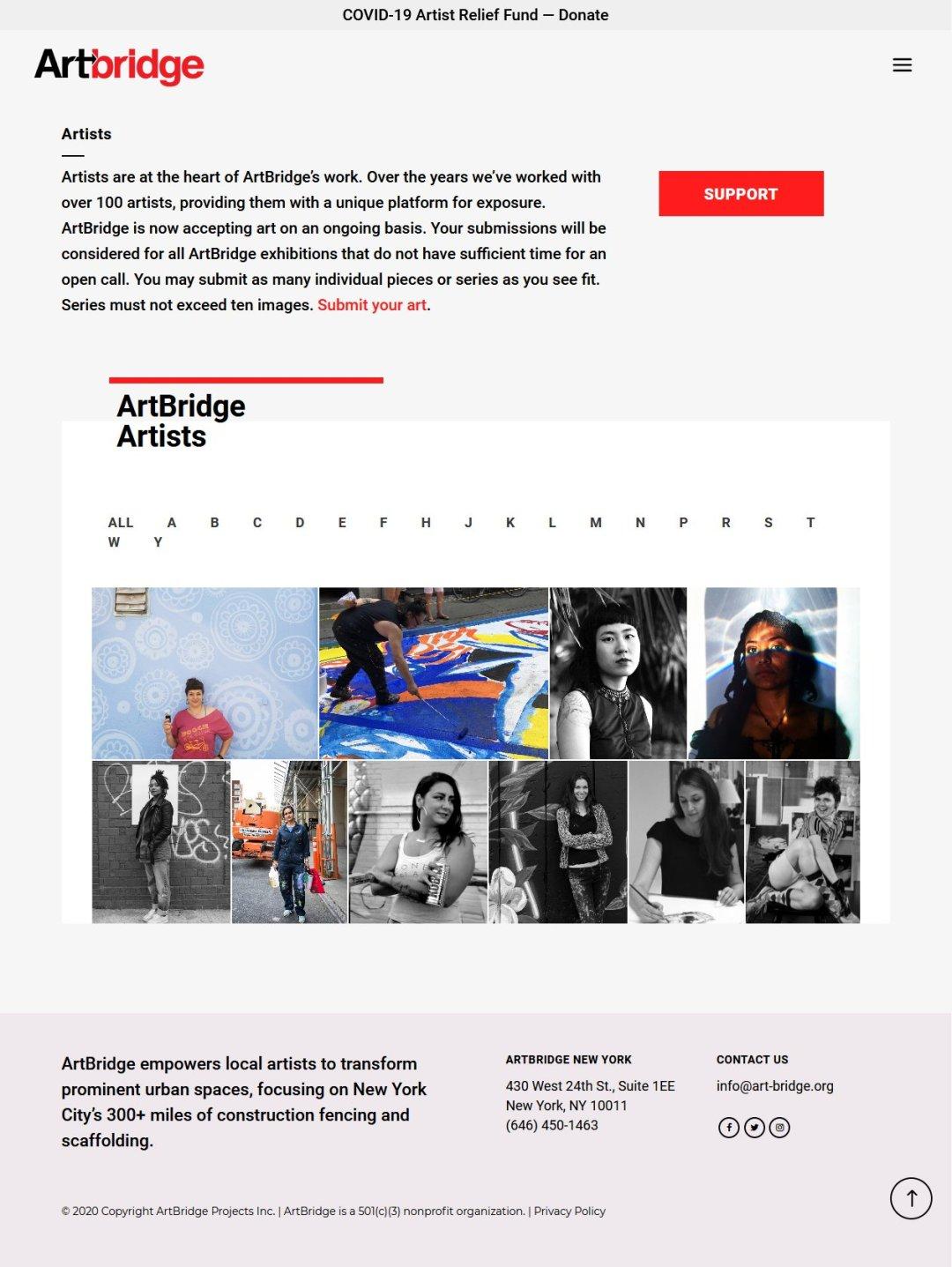 ArtBridge -- Artists page, design by LIMIT8 Design
