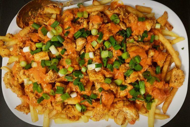 serving platter with allergy friendly loaded fries