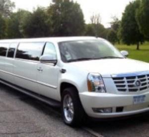 Image of white Escalade limousine